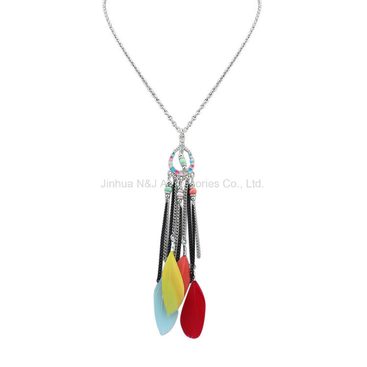 Body Chain Feather Silver Necklace for Woman Ethnic Jewelry