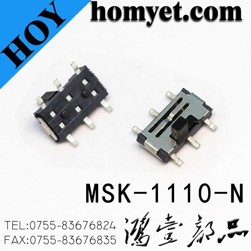 Vertical Type 6pin SMD Slide Switch for Digital Products (MSK-1110-G15-N)