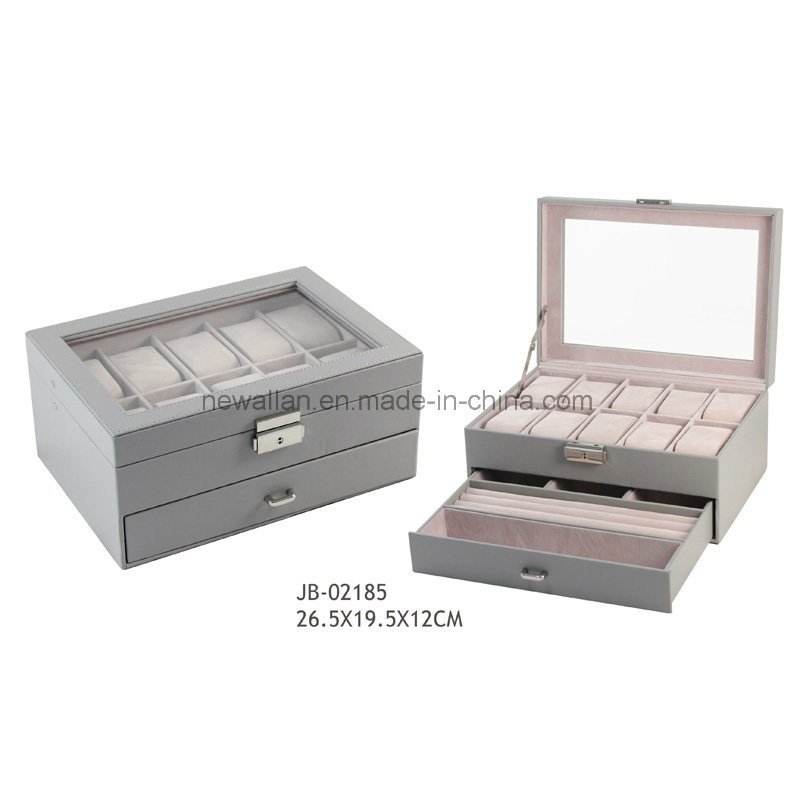 Grey Leather 10PCS Watches Storage Watch Case Leather Watch Box
