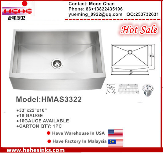Stainless Steel Handmade Sink, Apron Farmhouse Sink with Cupc Certificate