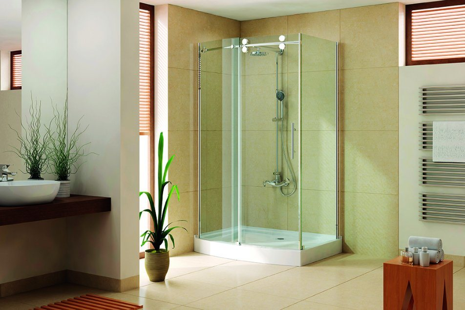 Stainless Steel Shower Room with Tray and Drainer