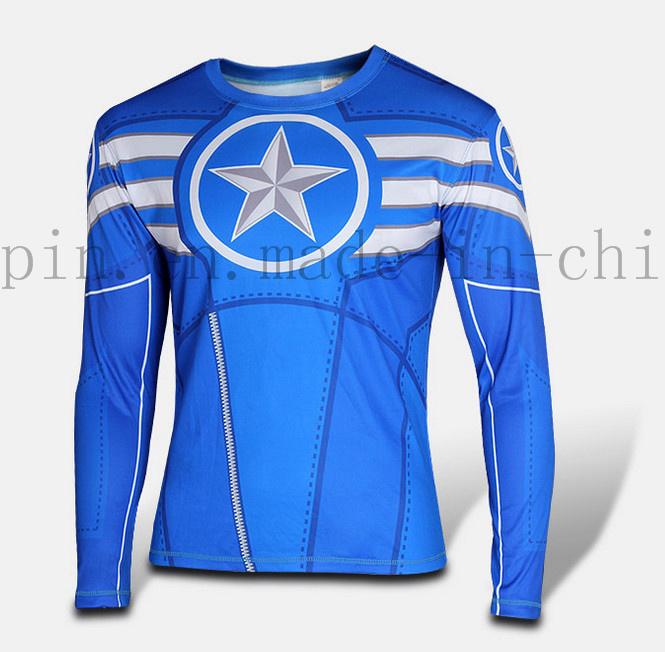 Custom Logo Polyester Quick Dry Cartoon Sport Long Sleeve Shirt Tights