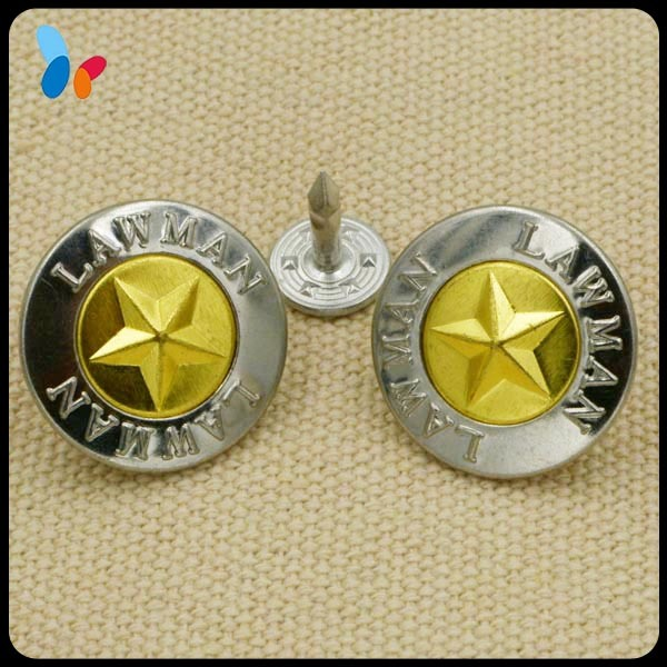 Custom Metal Jeans Button with Embossed Star Logo
