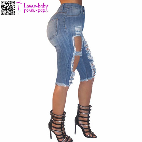 in Bluk Denim Destroyed Bermuda Jeans Shorts Women 2017 L535