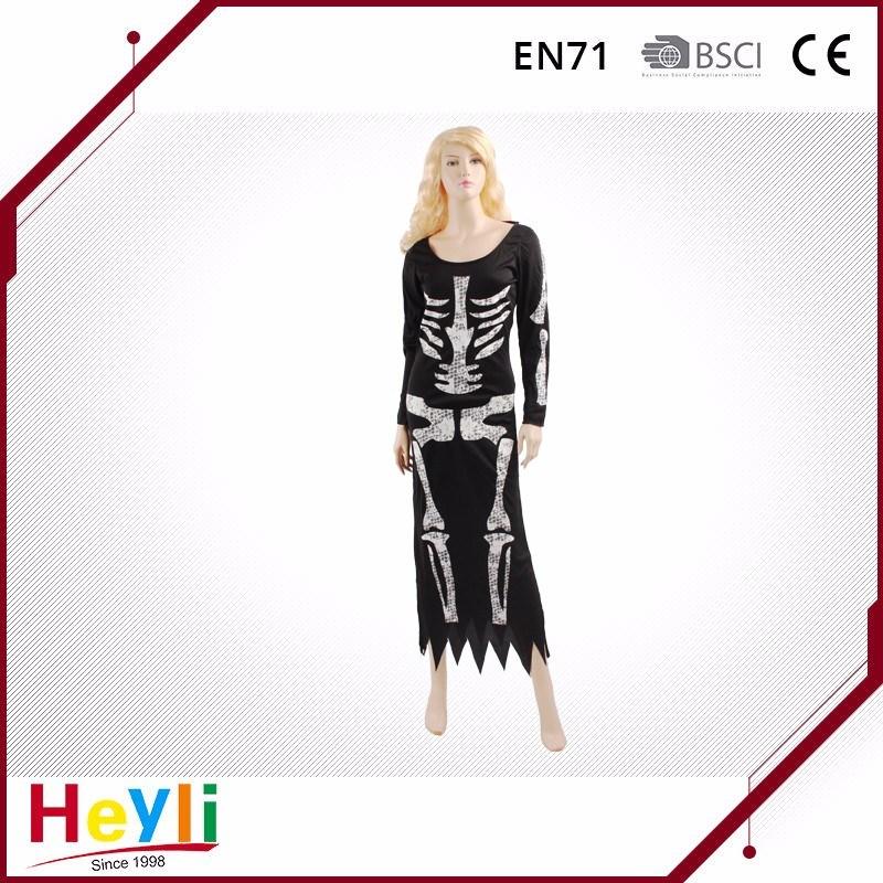 New Design Skeleton Halloween Party Women Dress Costumes for Girls
