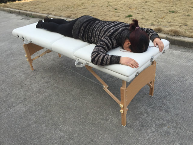 Longer and Wider Backrest Wooden Massage Bed