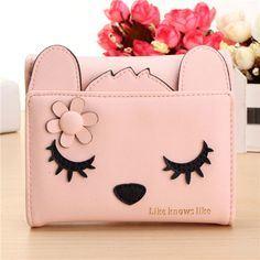 Women Cute Cat Short Card Holder Coin Wallet Bags (BDMC030)