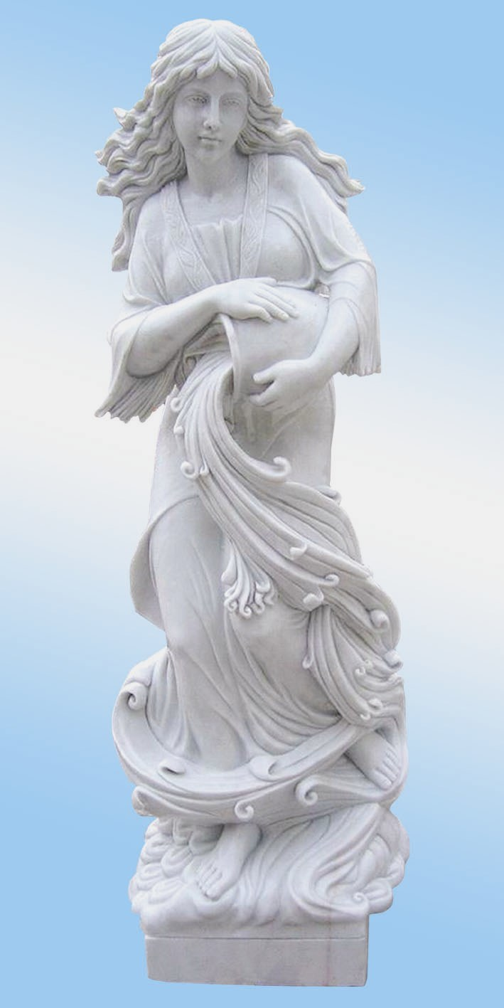 White Marble Statue : China white marble statue of girl holding bottle h cm