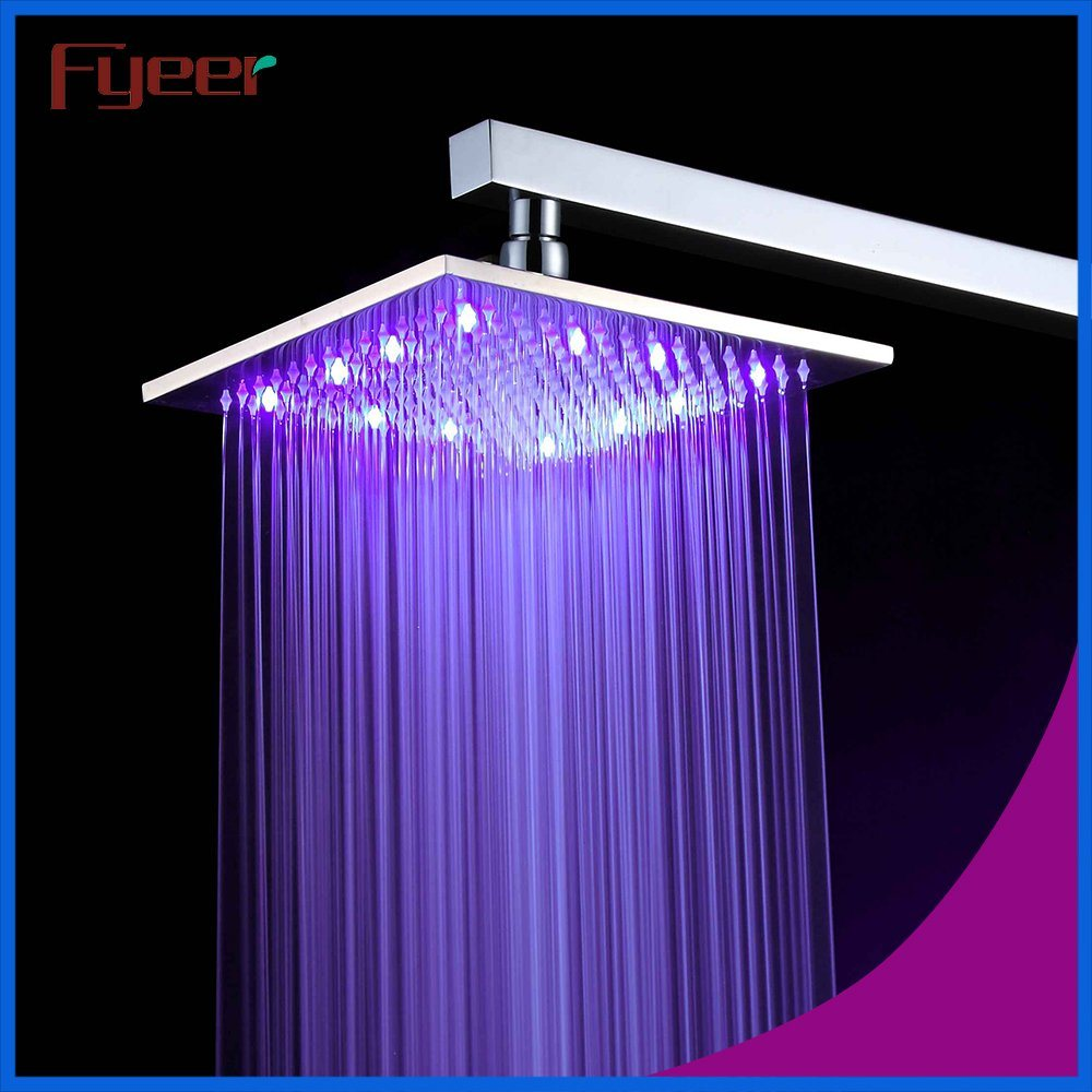 Fyeer Nickle Brushed Lighted Shower Head with Temperature Sensor