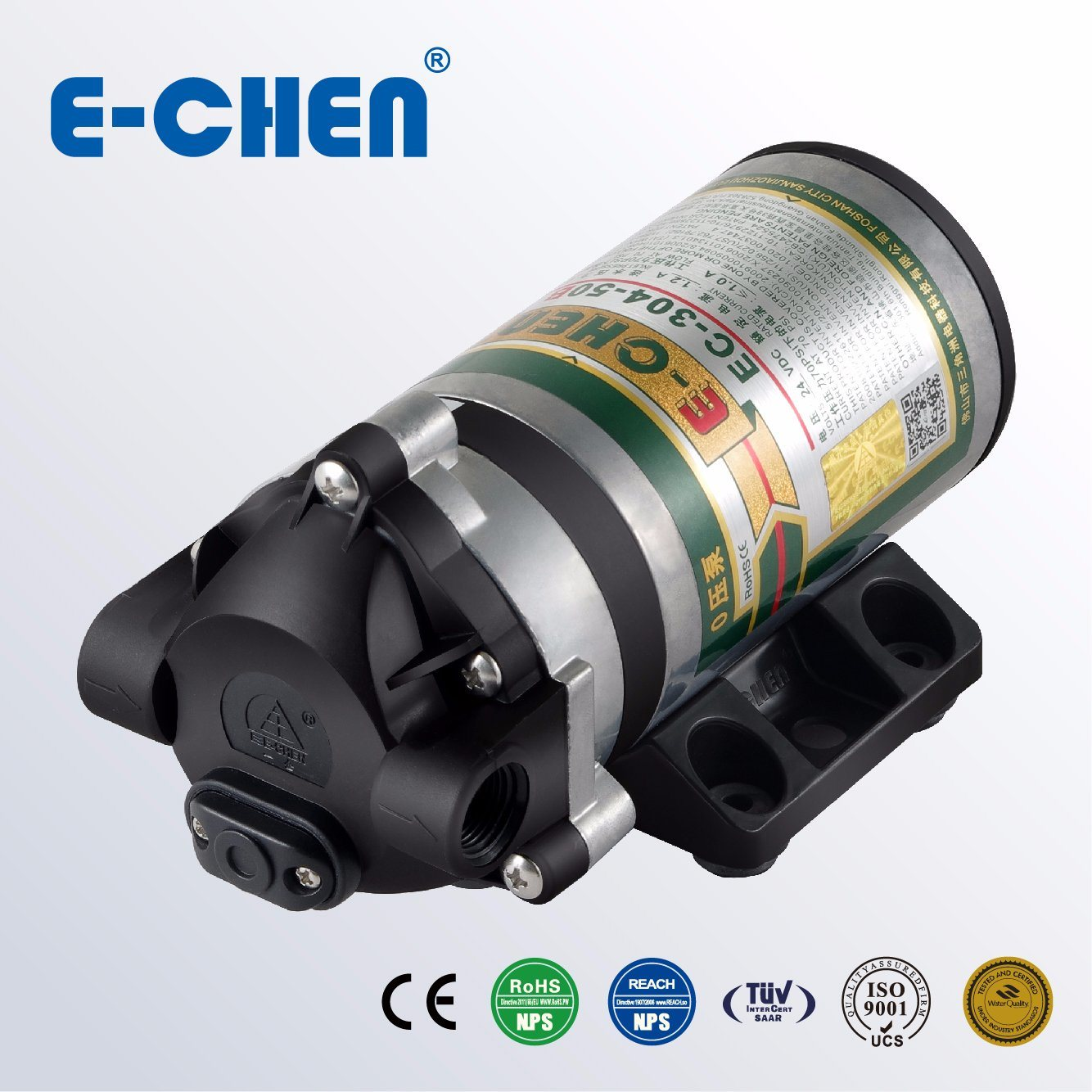 E-Chen 304 Series 75gpd Diaphragm RO Booster Pump - Designed for 0 Inlet Pressure Water Pump