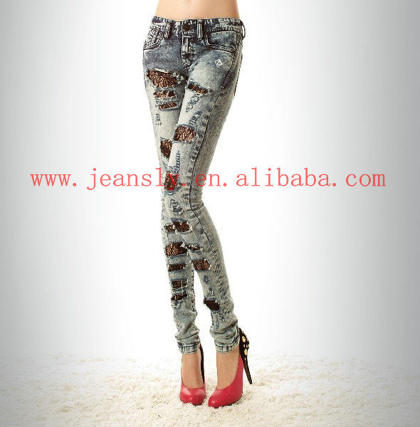 ripped jeans women. Fashion Women Ripped Lace