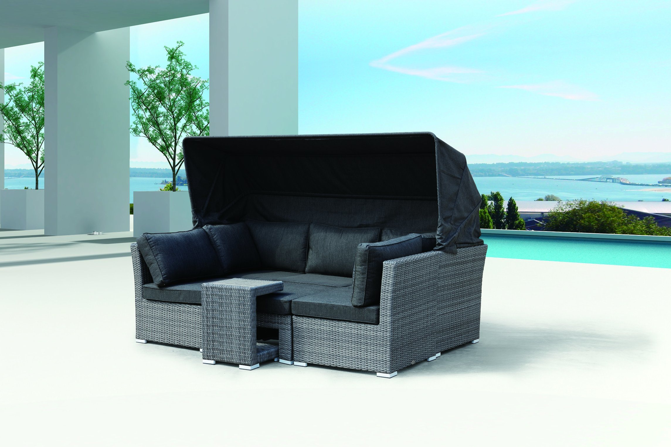 Garden Patio Lounger Beach Chair Rattan Tent Sofa Granada Lounge Set Outdoor Furniture (J547)