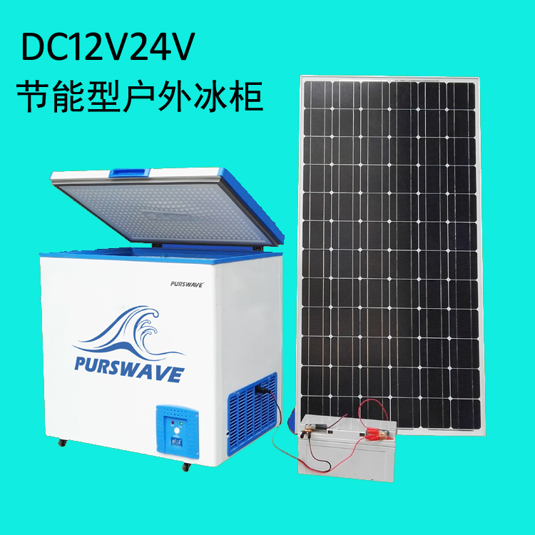 Purswave Bcd-258 258L DC Solar Chest Freezer 12V24V220V110V Refrigerator Double Temperature Powered by Solar Panel and Battery -20degree 0~10degree