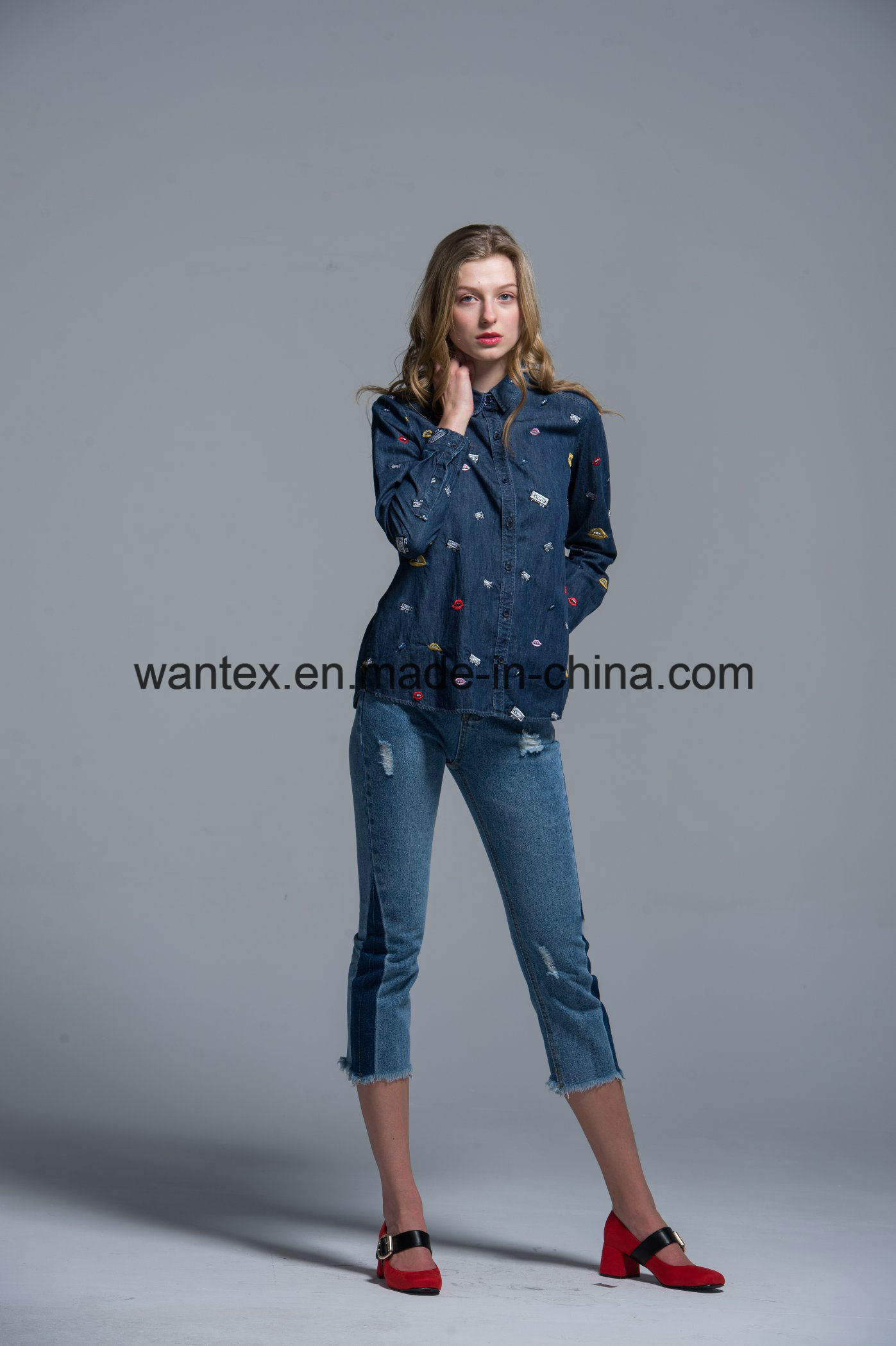 Ladies Blouse 100% Cotton Fashion Shirt Fashion Top Autumn Spring Jean