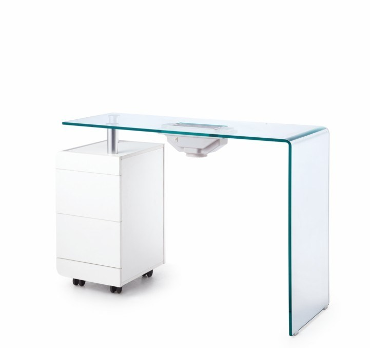 China Professional Bent Tempered Glass Top Manicure Table