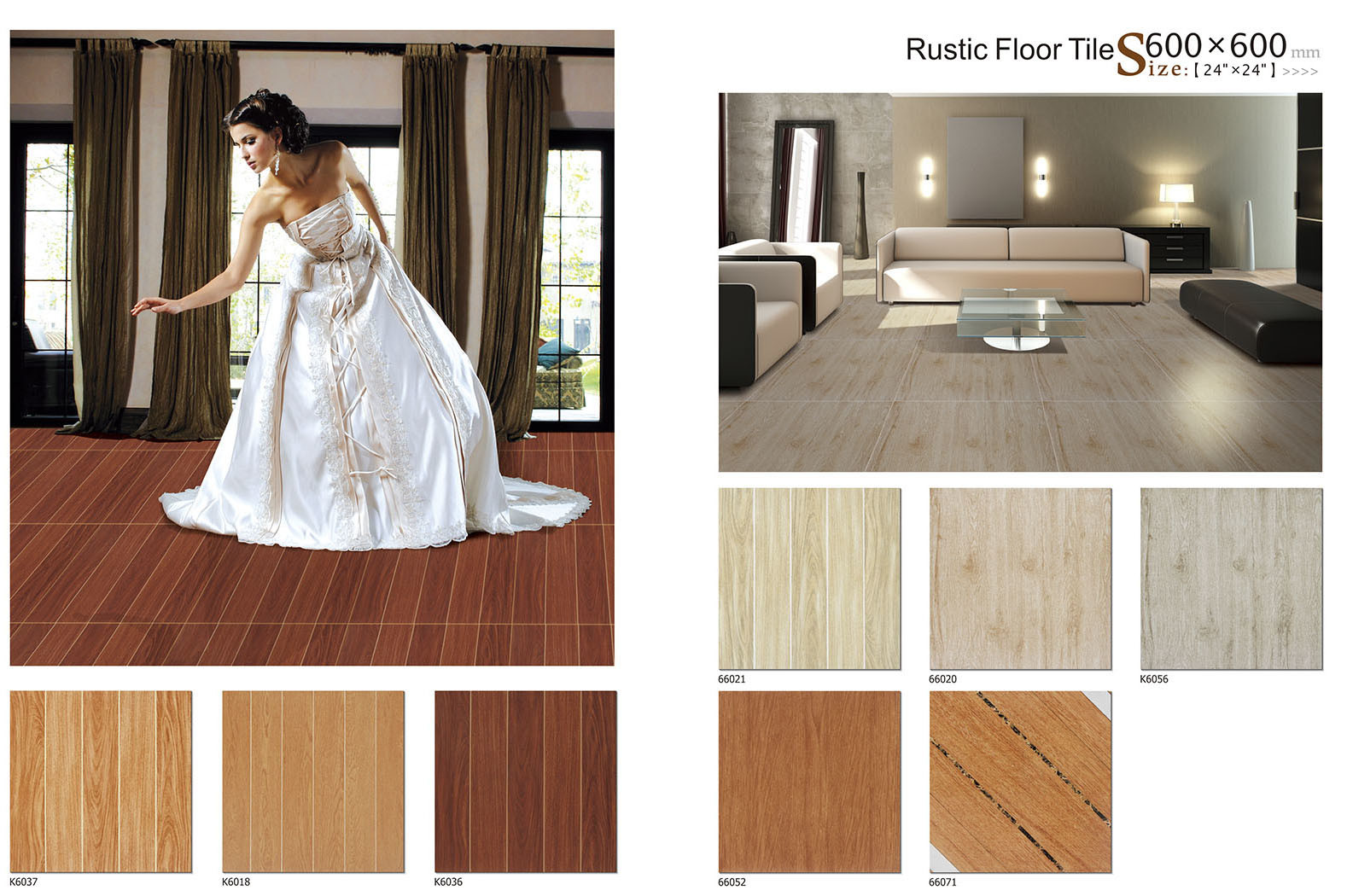 Multicolor Ceramic Wood Grain Tiles, Porcelain Flooring Tile