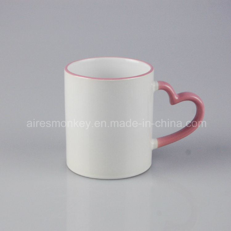 OEM Printed Ceramic Coffee Mug with Heart Handle