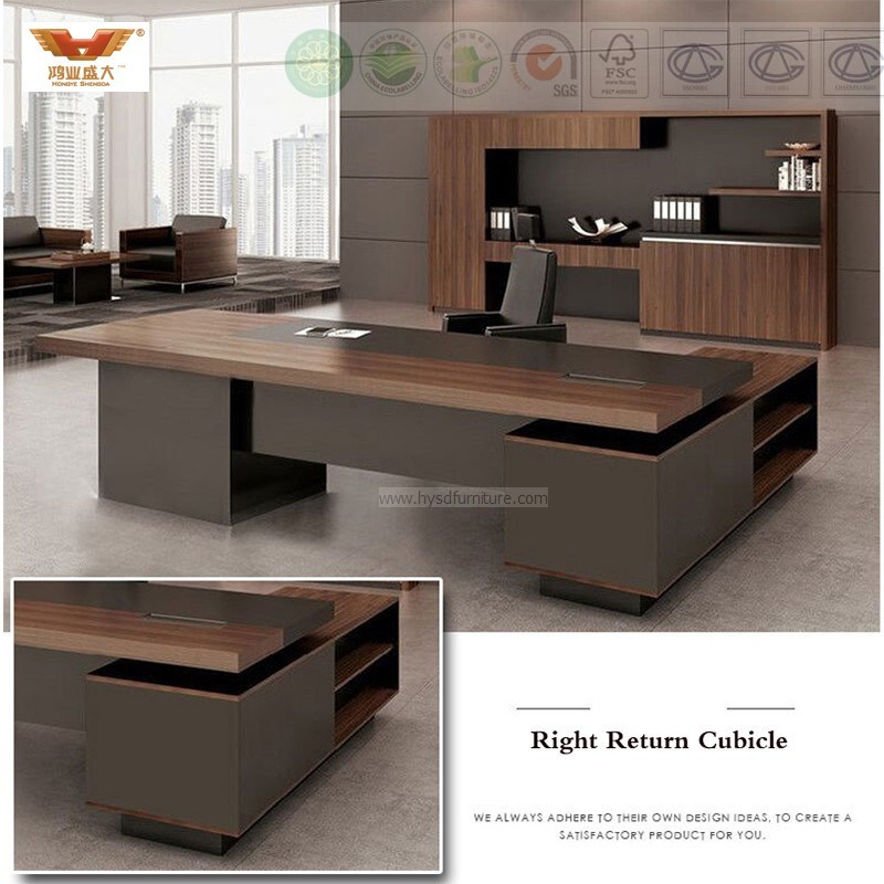China Fsc Forest Certified Roved By Sgs Wooden Melamine Office Furniture Modern L Shape Executive Desk Hy 589