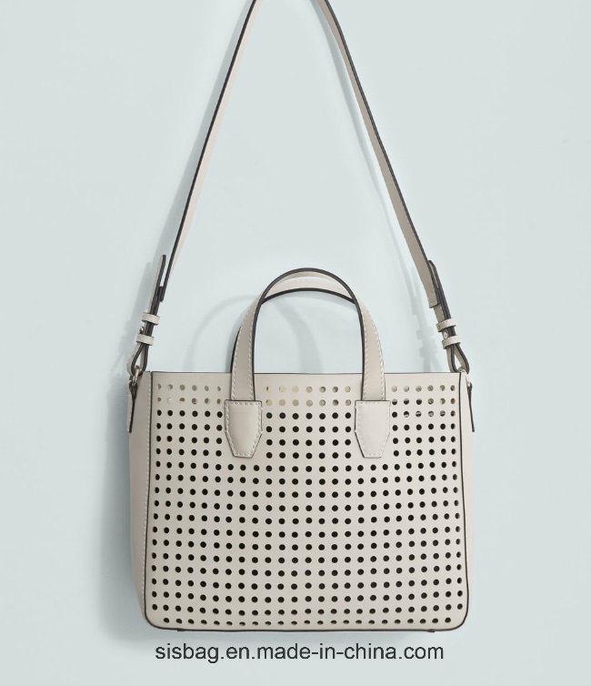 Designer PU Punching Lady Handbag Fashion Stitching Women Handbag