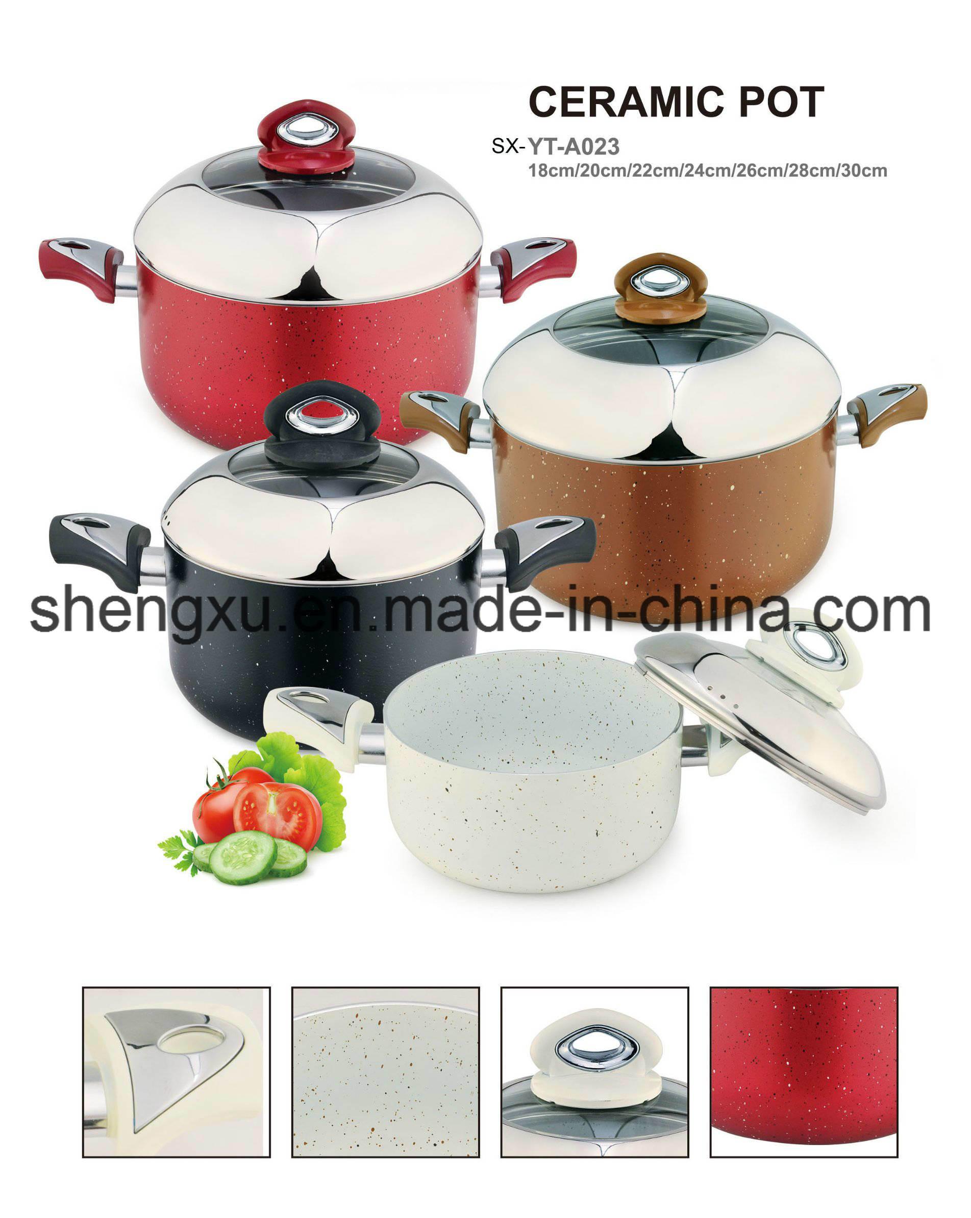Non-Stick Ceramic Coated Aluminum Sauce Pot Energy-Saving Pot Cookware Sets Sx-A023