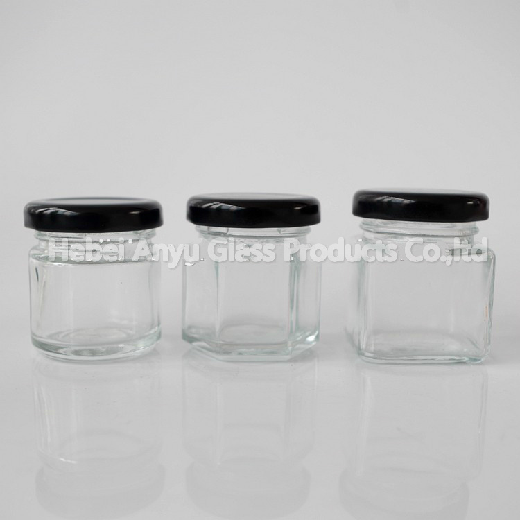 1 Oz 2 Oz Round Hexagon Square Mini Glass Honey Jar Mason Shot with Black Lid