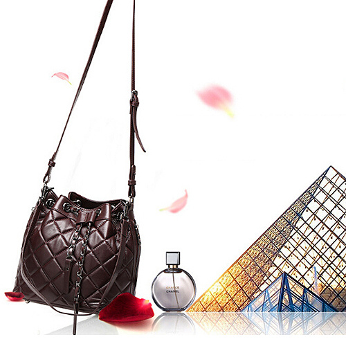 Latest Soft Designer Grid Lady Bucket Bags Real Leather Women Handbags OEM Factory Emg4912