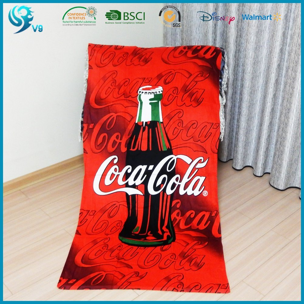 China Supplier 100% Cotton Velour Printed Custom Logo Towel