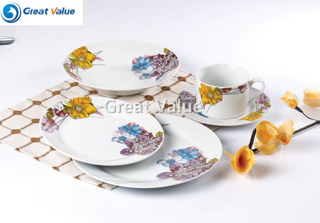 20PCS Crockery White Dinner Plates with Decal