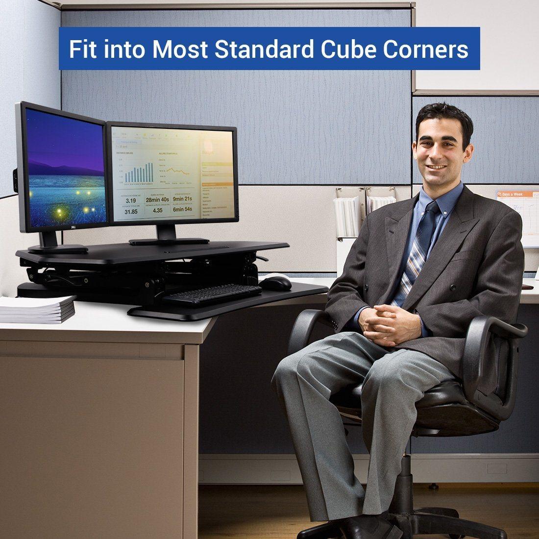 """Loctek 41"""" Wide Platform Height Adjustable Standing Desk Riser, Workstation, Sit-Stand Workstation, Black (MT101C)"""