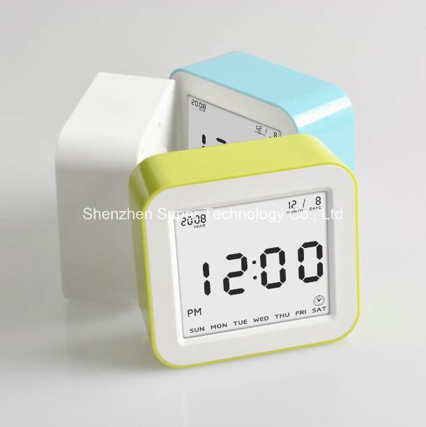 Flip Cube LCD Screen (3.2*2.9 inch) Digital Alarm Clock Weight Control