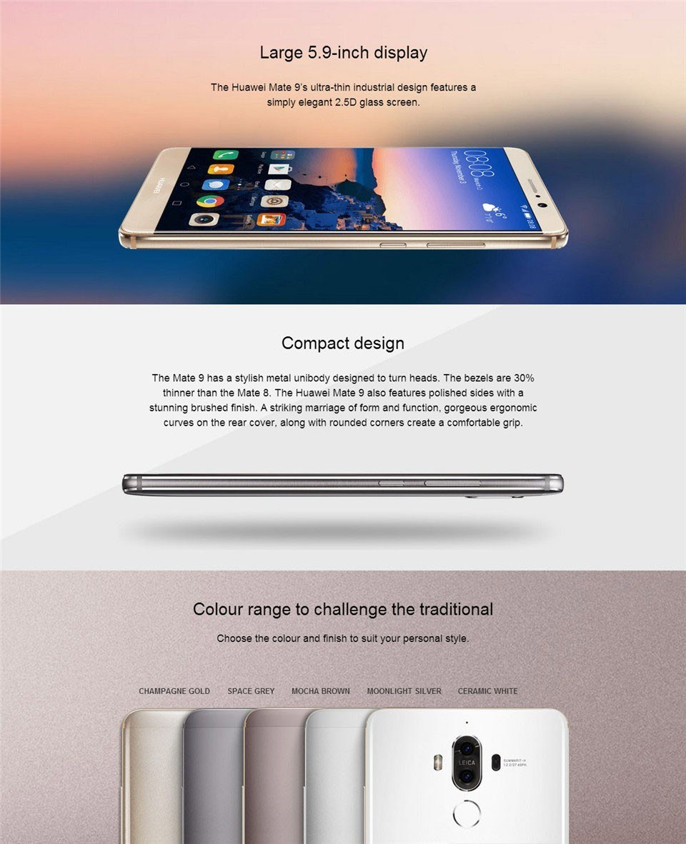 "Huawei Mate 9 4G FDD Lte Android 7.0 Octa Core 5.9"" FHD 1920X1080 4GB RAM 64GB ROM 20.0MP +12MP Leica Dual Rear Camera NFC Fingerprint Smart Phone Cellulare"