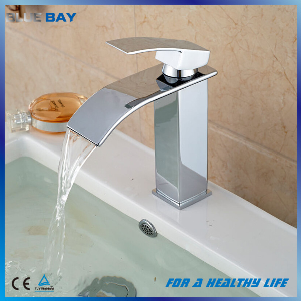 Hot Selling Chrome Brass Waterfall Bathroom Basin Faucet