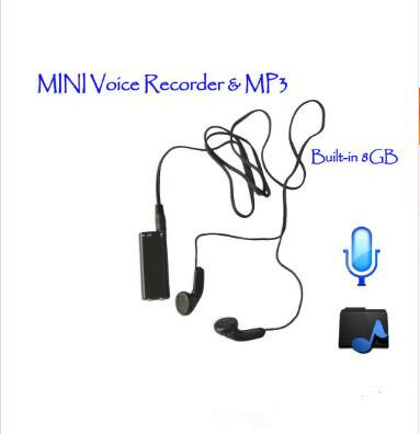 15h Long Time Record Smallest Personal Mini Digital Voice Recorder with 8GB MP3 Format USB Audio Telephone Recording