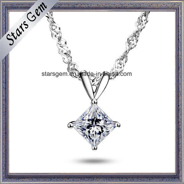 18k White Gold 1 Carat Square Moissanite Pendant Jewelry