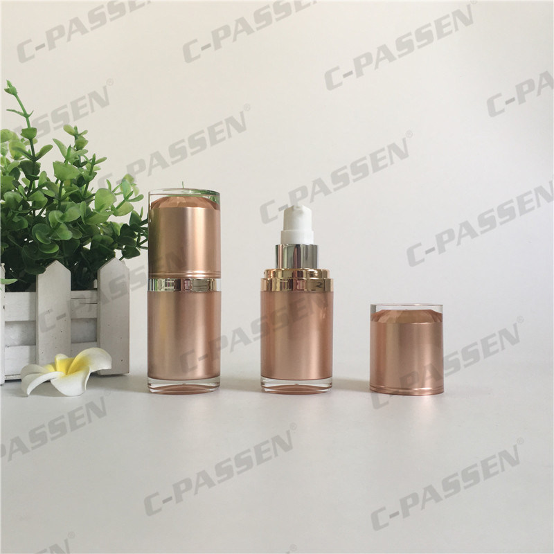 15ml Champagne Acrylic Cosmetic Bottle with Airless Pump (PPC-AAB-030)