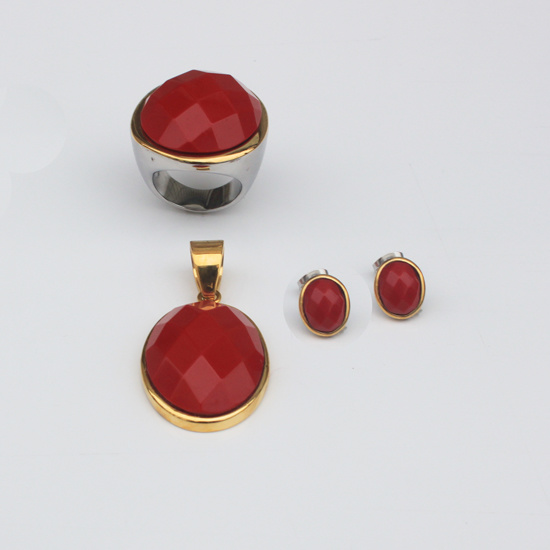 2016 Fashion Jewelry Stainless Steel Red Stone Suit Jewelry