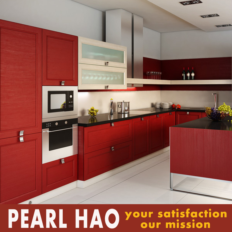 Columbia Modern Red MDF Blister Kitchen Cabinets