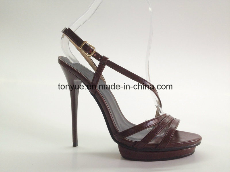 Lady Leather High Heel with Platform Sandals