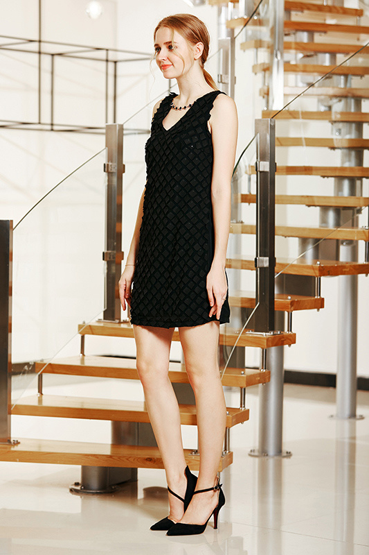 V Neck Sleeveless Shift Mini Dress in Small Check Patch Pattern Fabric with Necklace Embellishment