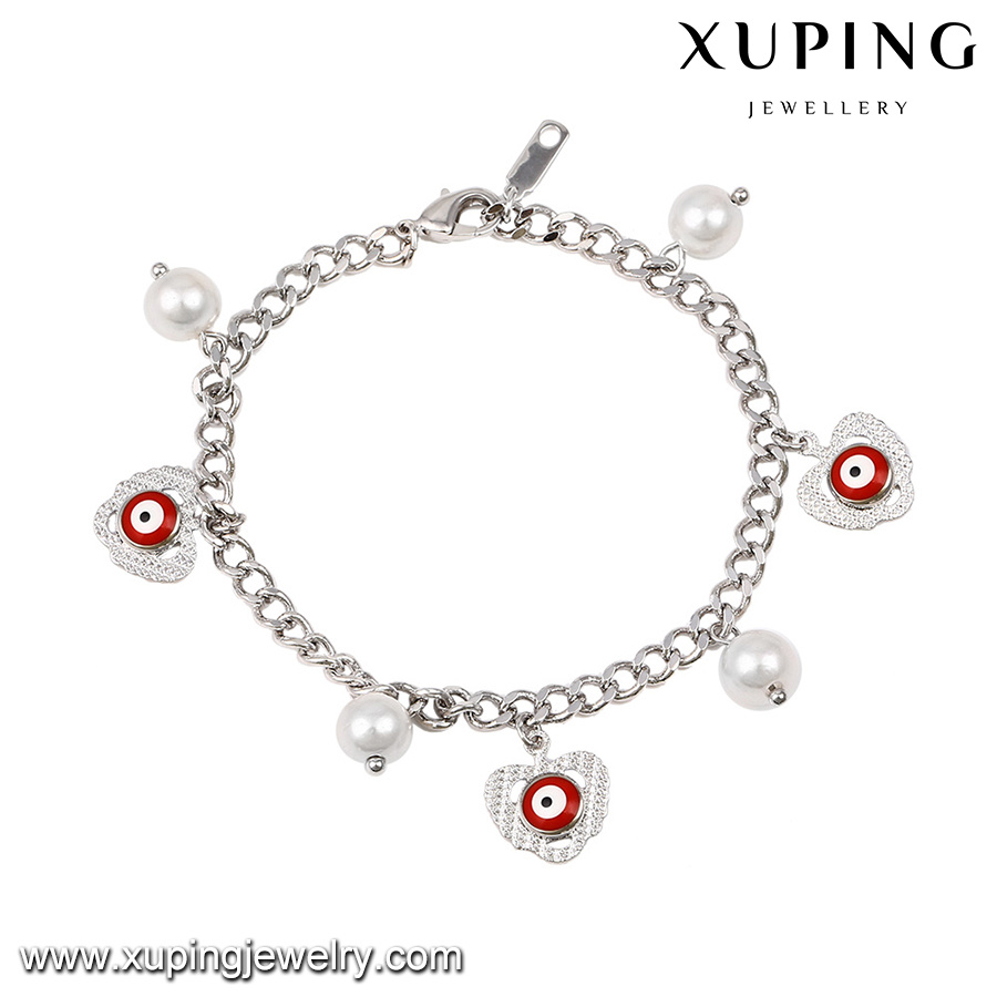 71959 Fashion Lovely Rhodium Color Eye Pearl Jewelry Promotional Bracelet