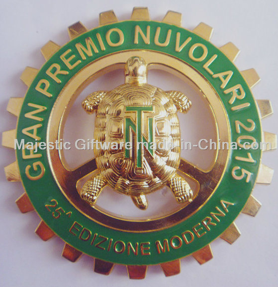 Gold Plated Hard Enamel Car Customized Turtle Badge
