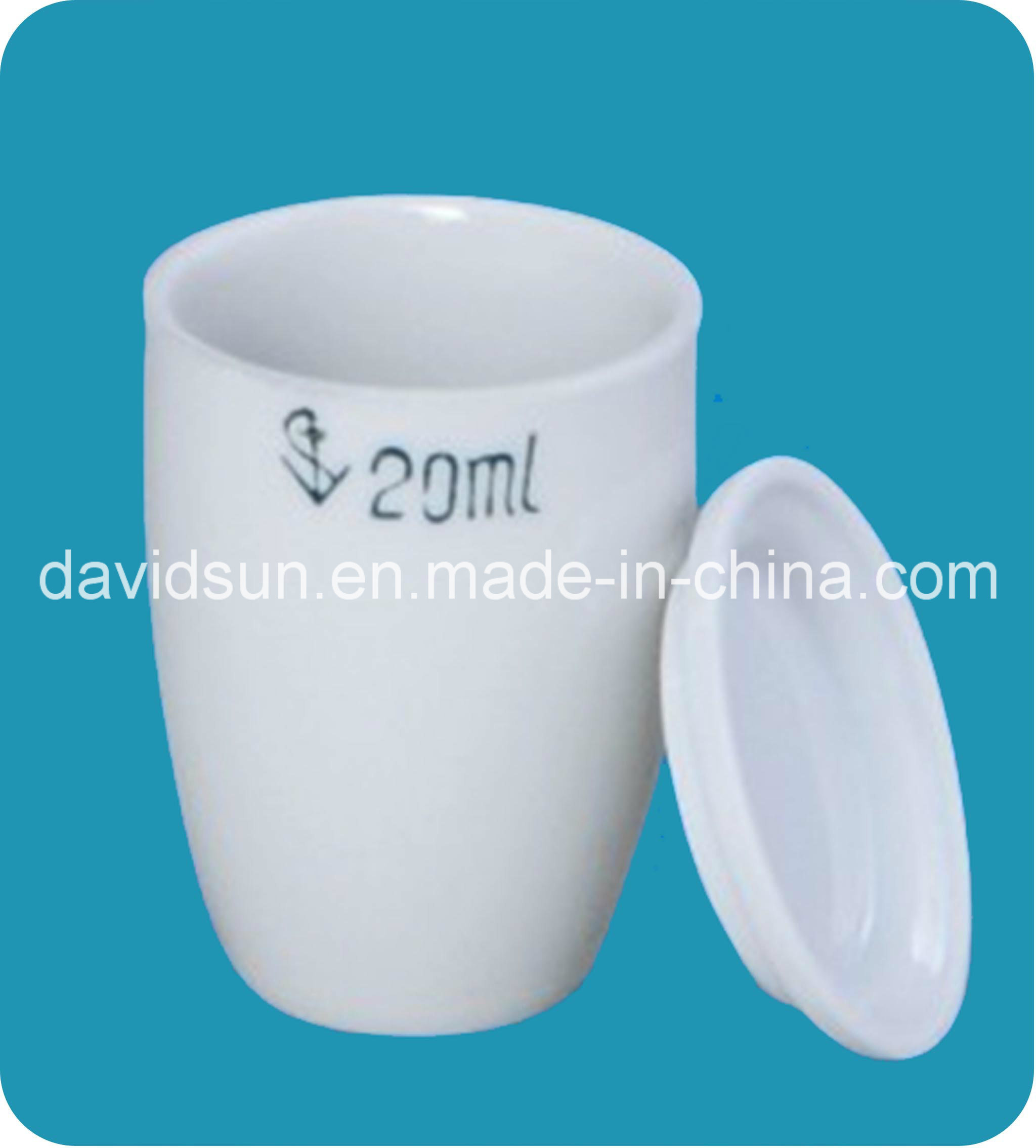 Laboratory Porcelainware Crucibles with Tight Closing Lid Glazed
