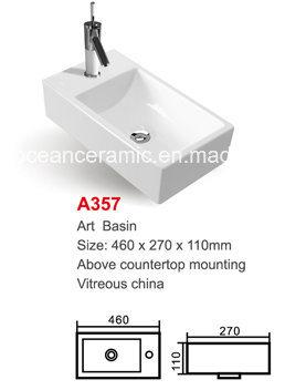 Bathroom Rectangular Ceramic Sanitary Ware Counter Basin No. A357