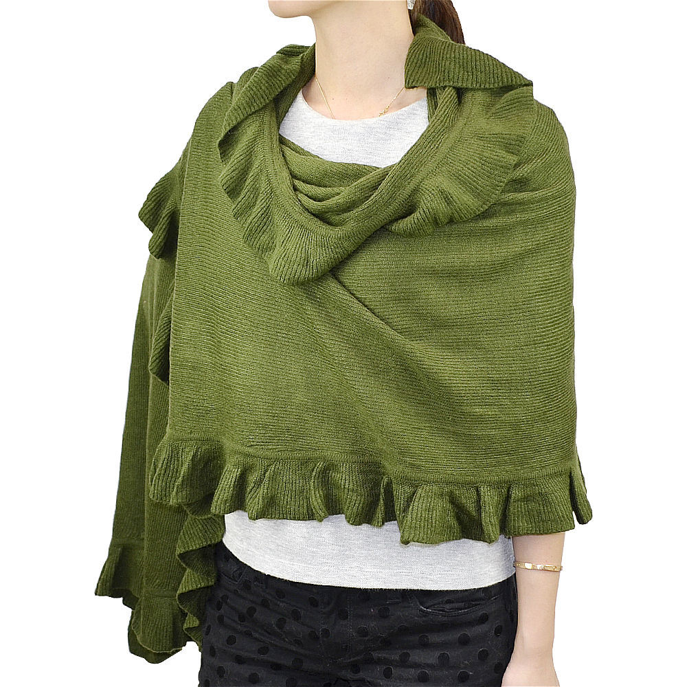 Lady Fashion Acrylic Knit Winter Ruffle Scarf Wrap Shawl (YKY4158A)
