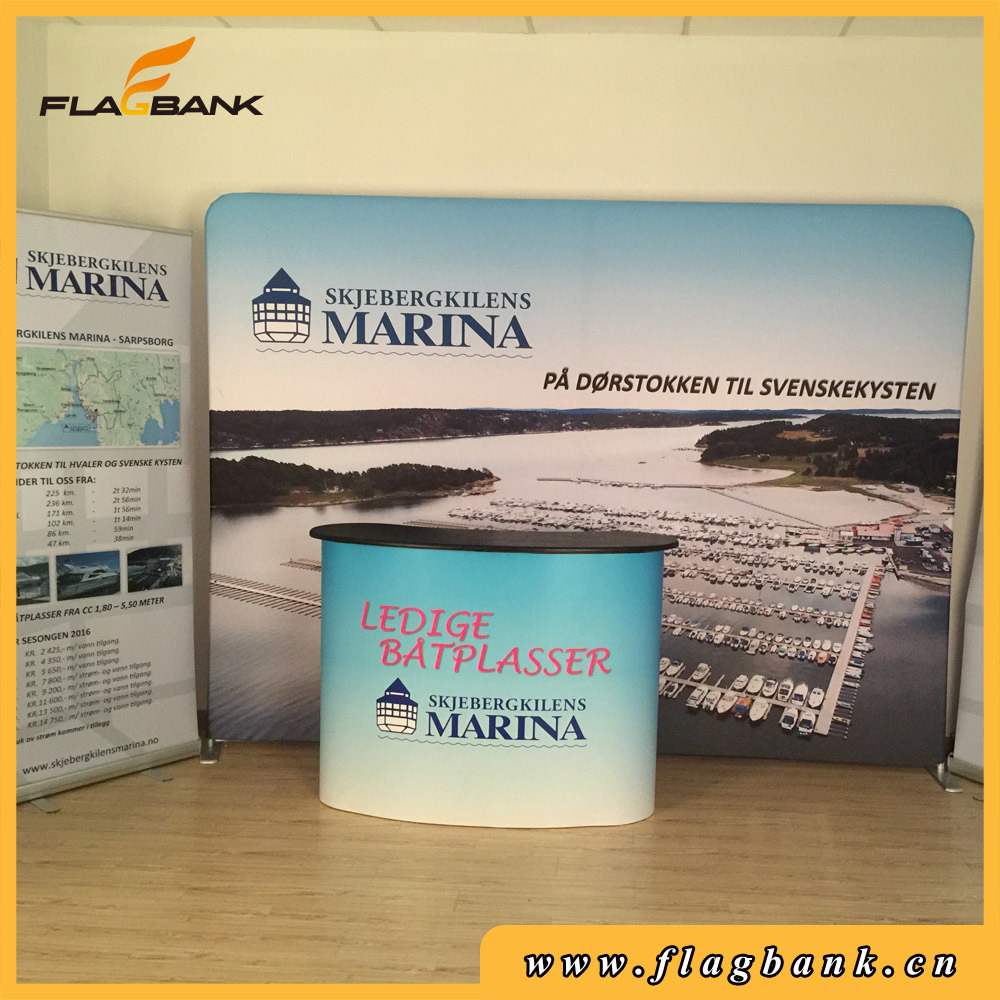 Popular Tension Fabric Exhibition Display Waveline Banner Stand