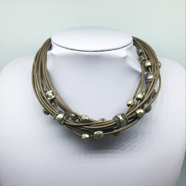 Leather Thread Alloy Beads Necklace (XJW13771)