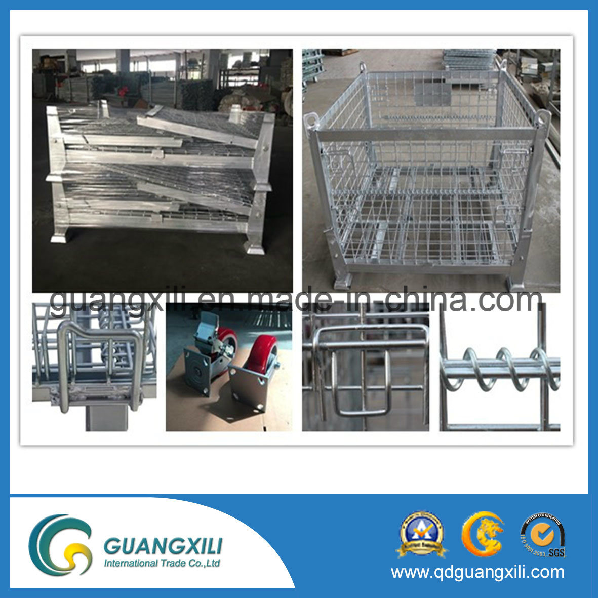 Warehouse Storage Galvanized Wire Mesh Containers in Lifting Type