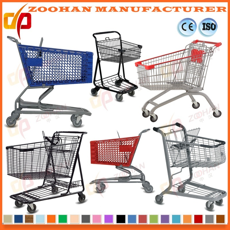 Durable Zinc or Chrome Supermarket Shopping Cart Trolley (Zht136)