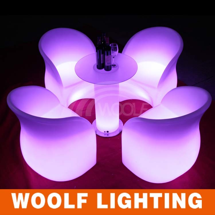 Outdoor White Garden LED Illuminated Leisure Chairs