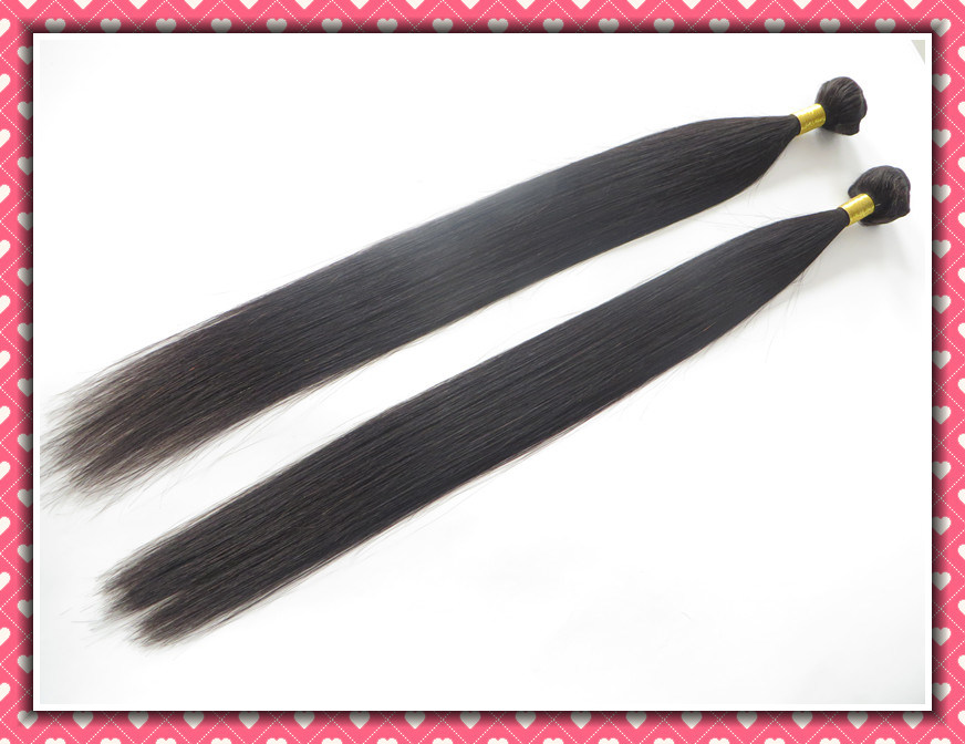 "Unprocessed Peruvian Virgin Hair Extension Silky Straight Weaving 26"" 100g Black Color"